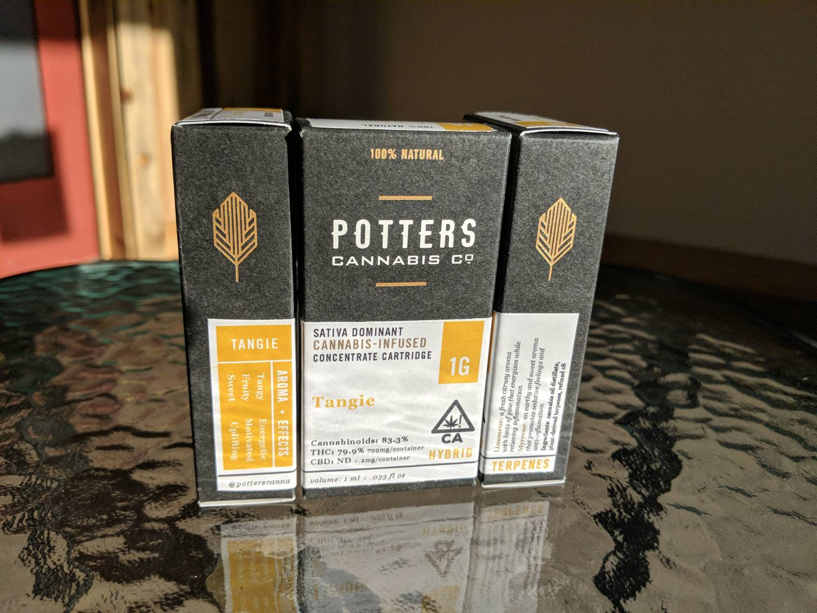 Potters cannabis co Tangie full gram cartridge