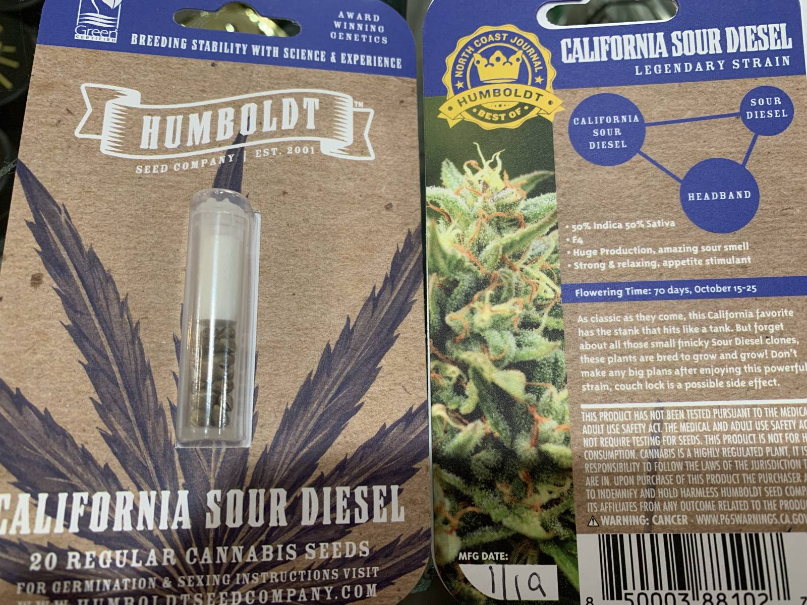 Humboldt seed co California sour diesel seeds