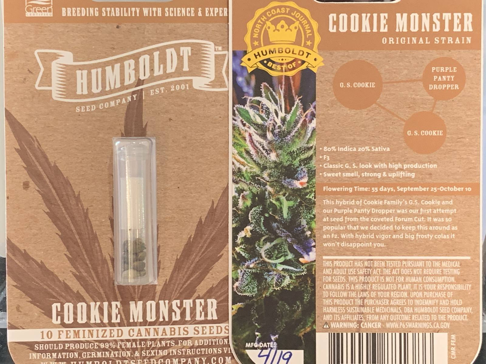 Humboldt seed co Cookie Monster feminized seeds