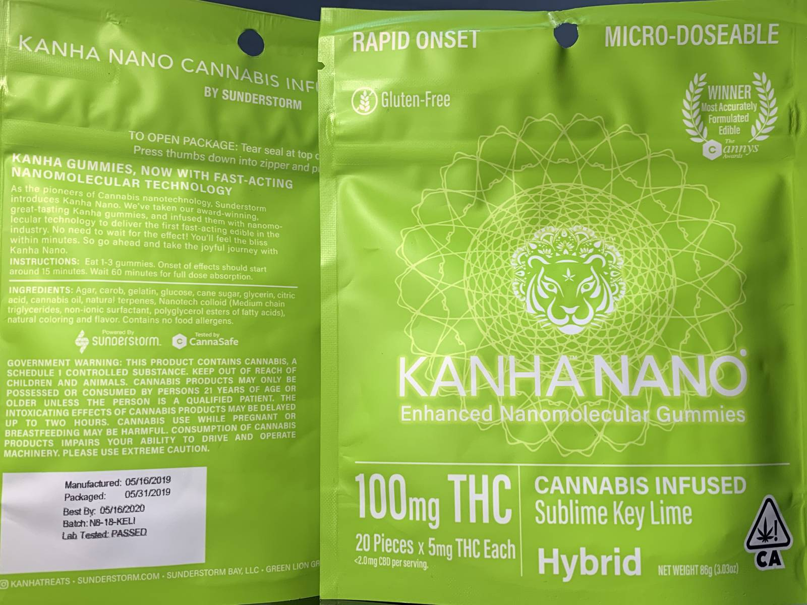 Kanha Nano sublime key lime hybrid gummies