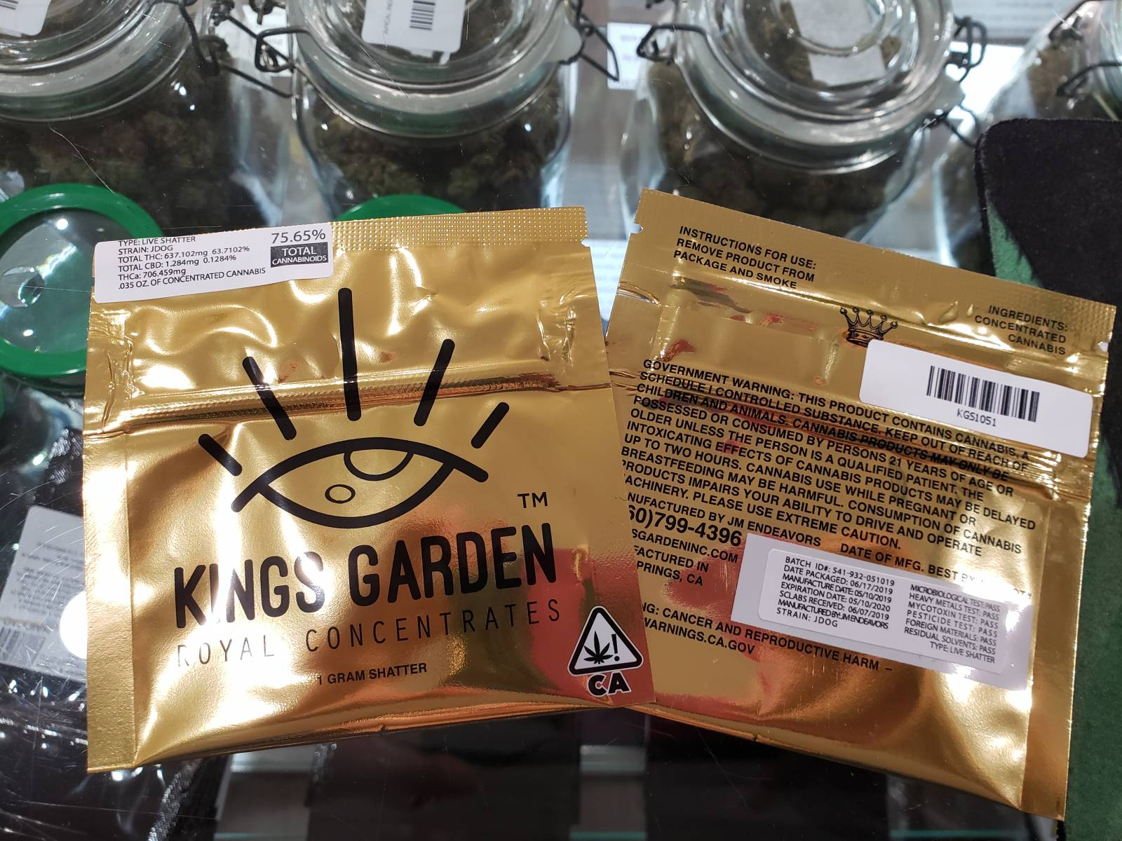 Kings Garden jdog live resin shatter 1 gram
