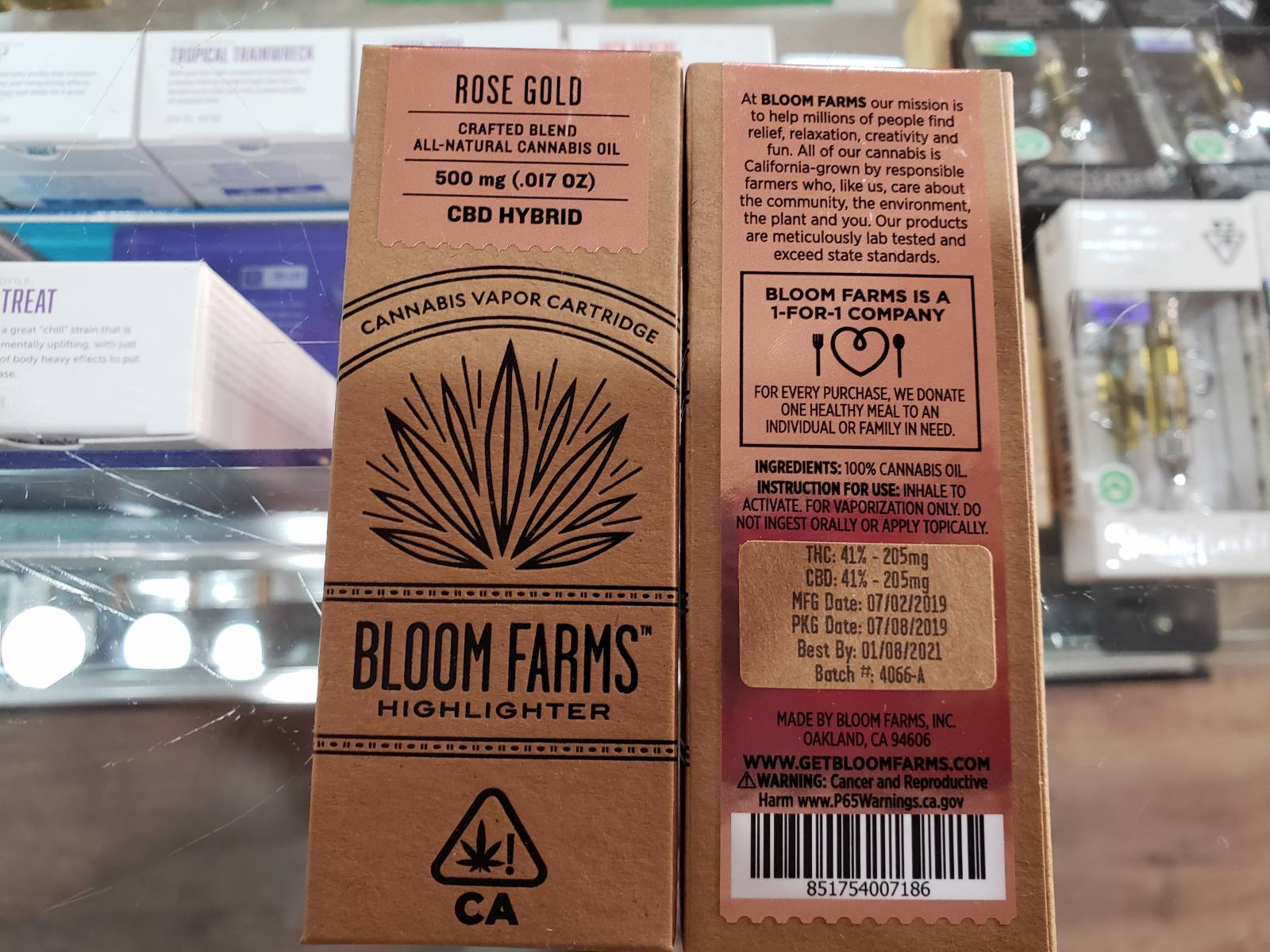 Bloom farms Rose Gold 1 to1 cbd cartridge half gram