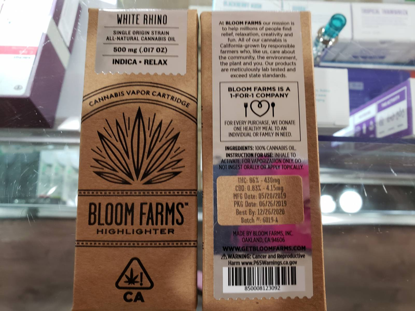 Bloom farms white rhino Indica cartridge half gram