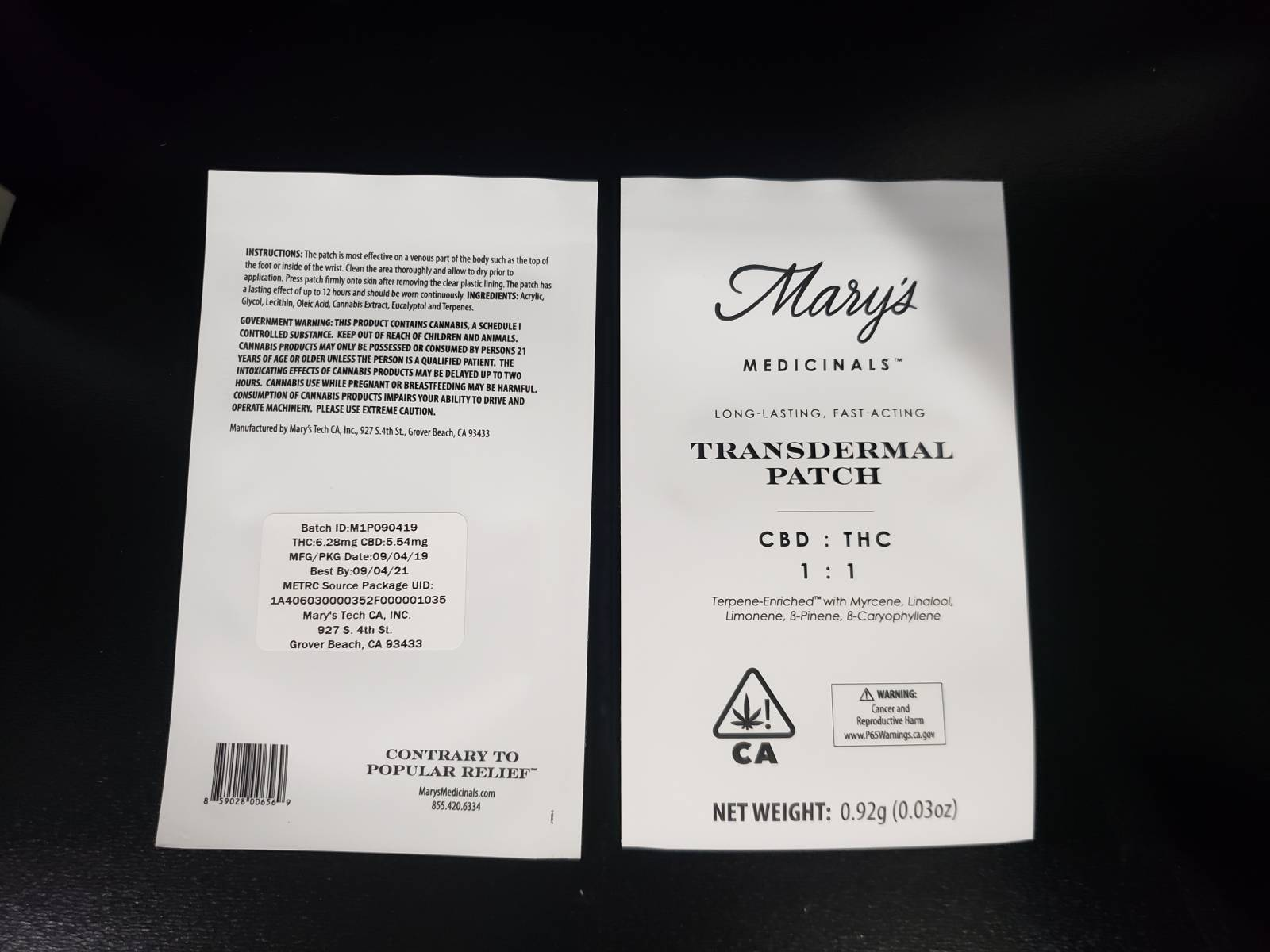 Mary's Medicinals CBD:THC 1:1 Transdermal Patch