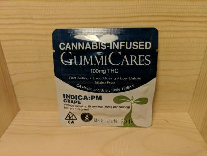 Gummicares 100mg THC Indica gummy, grape flavored