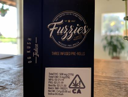 Mini Fuzzies indica 3 mini infused prerolls